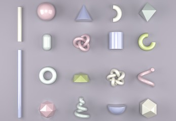 3D Rendering Of Different Type Of Geometric Realistic Looking Primitive Objects Set