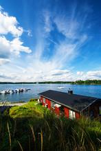 Bootshaus Und Schärengarten In Vaxholm In Schweden