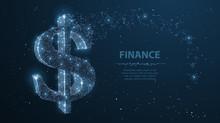 Dollar Sign. Polygonal Mesh Art Looks Like Constellation. Concept Illustration Or Background