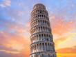 Leinwandbild Motiv pisa leaning tower close up detail view at sunset
