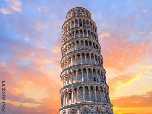 pisa leaning tower close up detail view at sunset Fototapeta