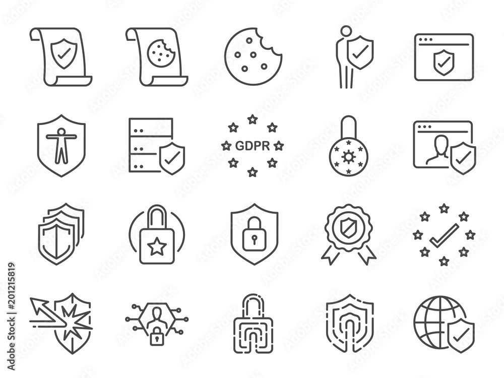 Fototapety, obrazy: Privacy policy icon set. Included the icons as security information, GDPR, data protection, shield, cookies policy, compliant, personal data, padlock and more
