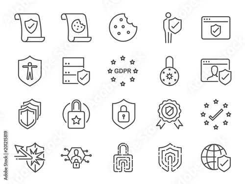 Fotografie, Obraz  Privacy policy icon set