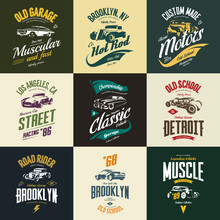 Vintage Muscle, Roadster, Hot Rod And Classic Car Vector T-shirt Logo Isolated Set