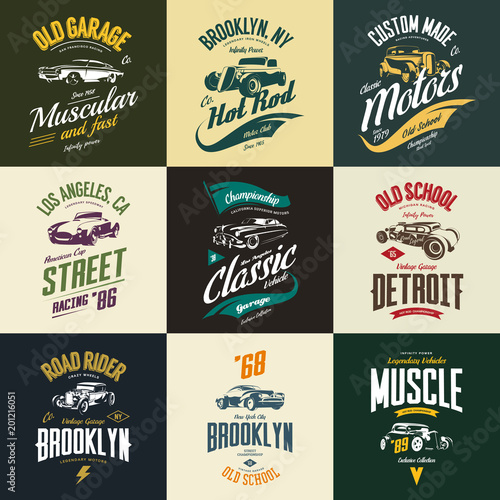 Valokuva Vintage muscle, roadster, hot rod and classic car vector t-shirt logo isolated s