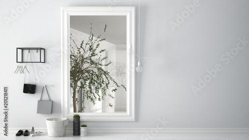 Obraz Scandinavian entrance lobby hall with mirror reflecting bright bathroom with olive tree, minimalist white interior design - fototapety do salonu