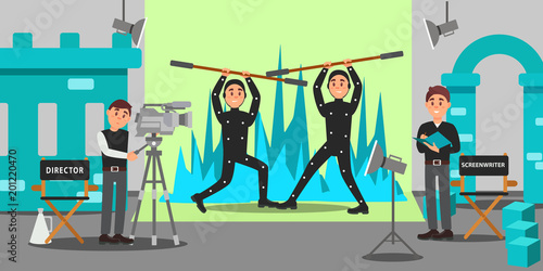 Director, screenwriter and actors working on the film, entertainment industry, movie making vector Illustration