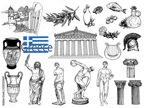 Fotografía Set of hand drawn sketch style Greek themed objects isolated on white background