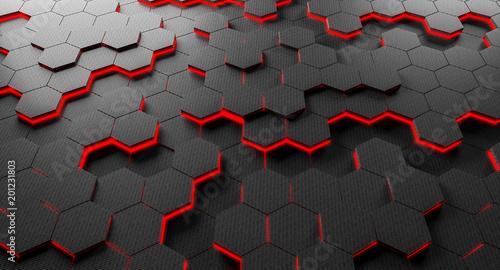 carbon fiber hexagon background © tiero