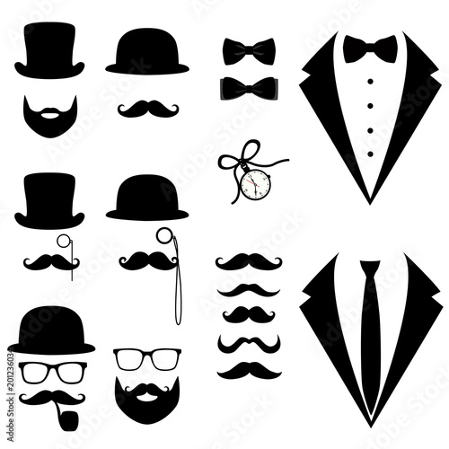 Men's tuxedo. Mustache, glasses, beard, pipe and top hat. Fototapeta