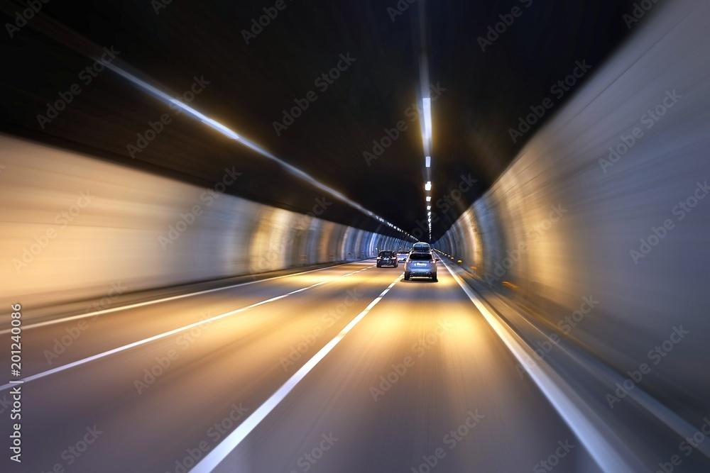 Fototapeta Driving in a tunnel