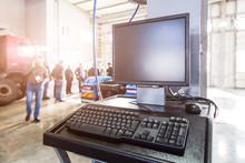 Monitor And Keyboard At A Stat...