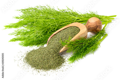 dried dill weed in the wooden scoop, with fresh dill weed, isolated on white Fototapet