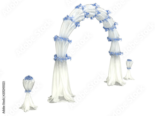 white wedding arch curtain with details in flowers isolated on a black backgroun Fototapete