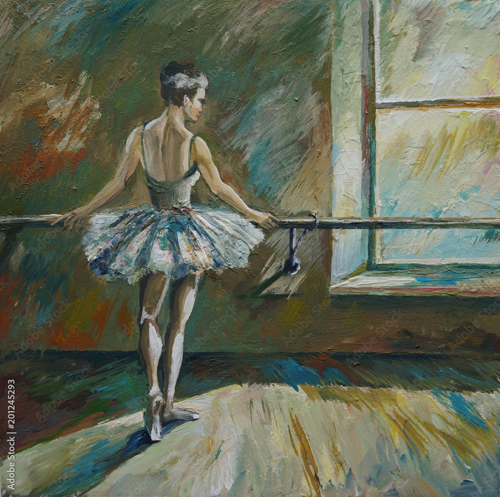 Fototapeta Ballerina Painting Acrylic and Full spectrum on Canvas and Cardboard artist creative painting background