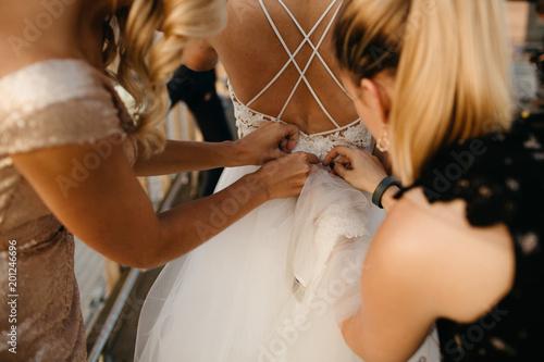 Bridesmaids Helping The Bride Canvas Print