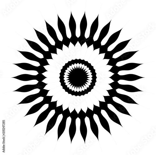 Vector flor de girasol en color negro y espacio libre en blanco ...