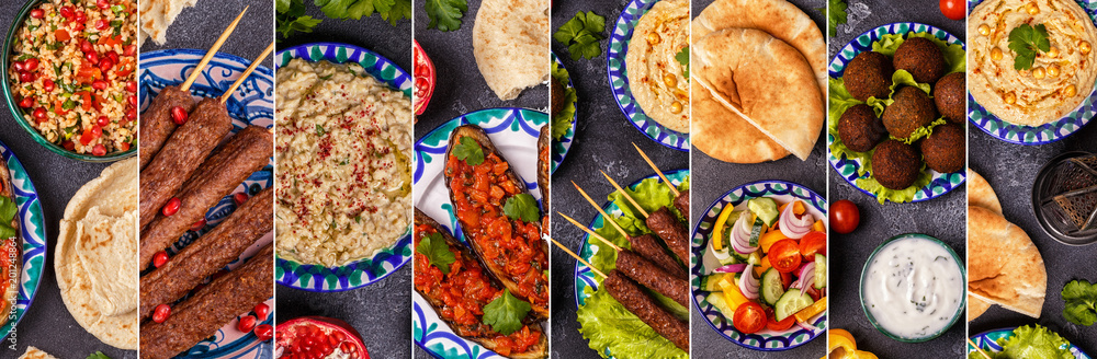 Fototapety, obrazy: Collage of traditional middle eastern or arab dish