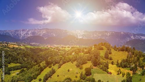Fotobehang Honing Landscape in Transylvania, Carpathian Mountains, Romania.
