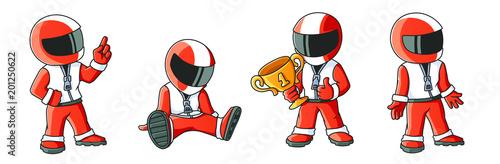 Max the Racer Winner 4 Illustrations Set Fototapet