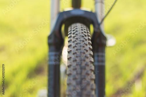 Foto  Close-up auf einem Fahrrad auf der Rückseite, Mountain Bike Protector