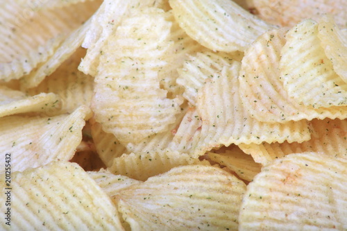 Fotografie, Obraz  many of potato chips horizontal texture