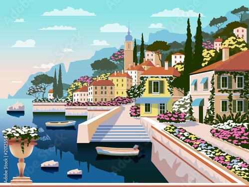 Śródziemnomorski romantyczny krajobraz. Ręcznie rysunek wektorowej. Wszystkie budynki - można dostosowywać różne obiekty. Może być stosowany do plakatów, banerów, pocztówek, książek itp.