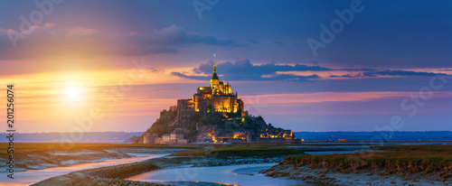 Spoed Foto op Canvas Nachtblauw Mont Saint-Michel view in the sunset light. Normandy, northern France