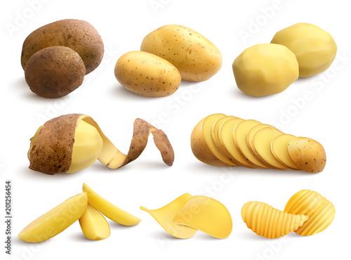 Carta da parati Raw And Fried Potato Realistic Set