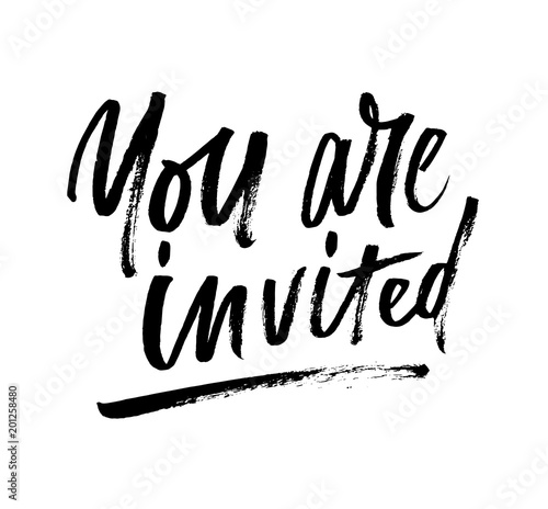 You Are Invited Brush Lettering Invitation. Modern