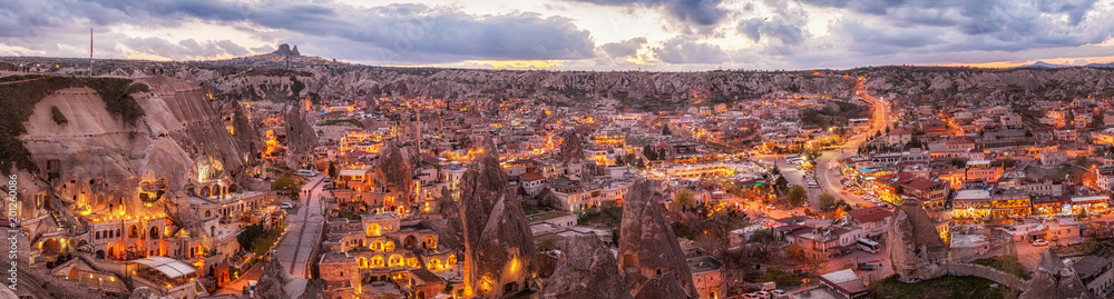 Fototapety, obrazy: panoramic night view of Goreme and Uchisar on horizon, Cappadocia, Turkey. A world-famous tourist center of balloon flight