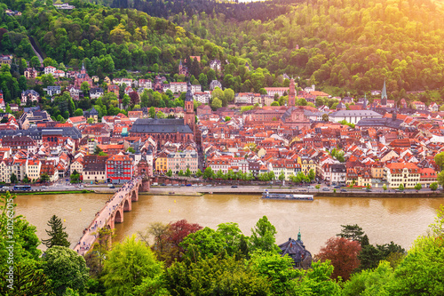 Fototapeta Panoramic view of beautiful medieval town Heidelberg including Carl Theodor Old Bridge, Neckar river, Church of the Holy Spirit, Germany obraz na płótnie