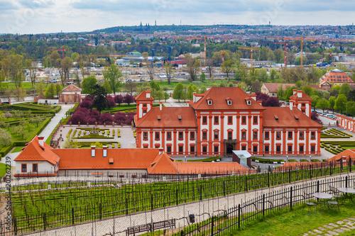 PRAGUE, CZECH REPUBLIC - APRIL, 30, 2017: Troja palace. Beautiful site is a travel destination. Wide panoramic view