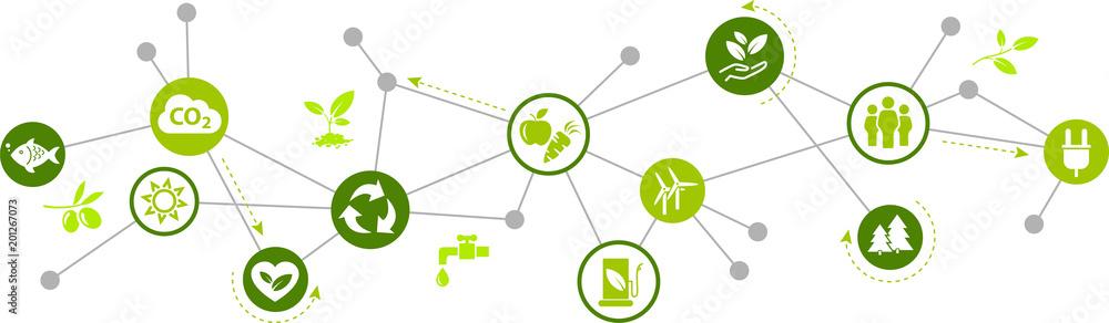 Fototapeta environmentally friendly technology / environmental challenges vector