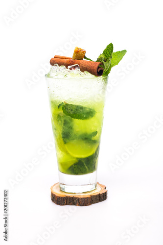 mojito cocktail decorated with cinnamon and sugar on white background #201272402