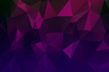 Abstract Multicolored Polygon, Low Polygon Background. Dark Stretching. Transfusion Of Color. Geometric Pattern. Blue, Pink, Lilac, Burgundy, Saturated Black