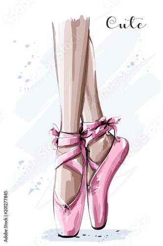 Hand drawn ballet dancer legs in pointe shoe. Sketch. Vector illustration.