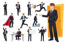 Set Of Businessman Character D...