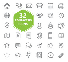 Contact Us Icons. Thin Lines I...