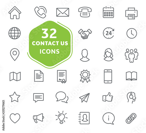 Leinwanddruck Bild - Александр Филинков : Contact us icons. Thin lines icons set for user interfaces