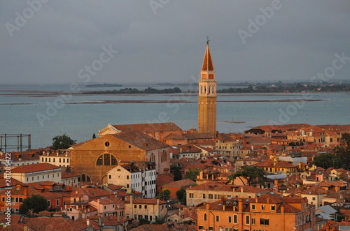 Stickers pour porte Venise Aerial of Venice at sunset