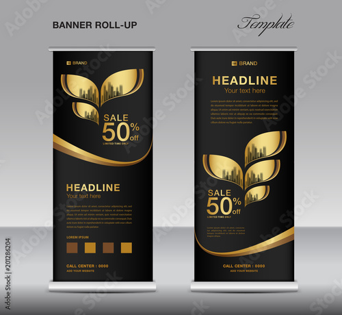 Exhibition Stand Banner : Black and gold roll up banner template vector advertisement x