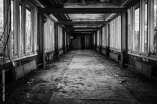 Deurstickers Oude verlaten gebouwen Abandoned building interior