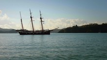 Ship With Three Masts Floating...