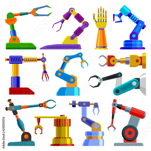 Photo  Robot arm vector robotic machine hand technology equipment illustration set of r