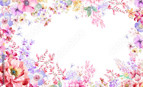 Colorful watercolor flowers