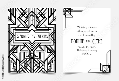 Art Deco vintage invitation template design patterns and frames