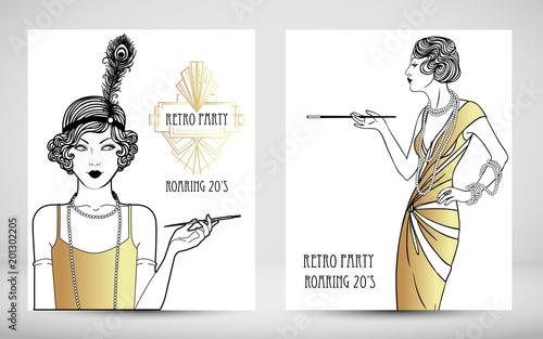 Cuadros en Lienzo Art Deco vintage invitation template design
