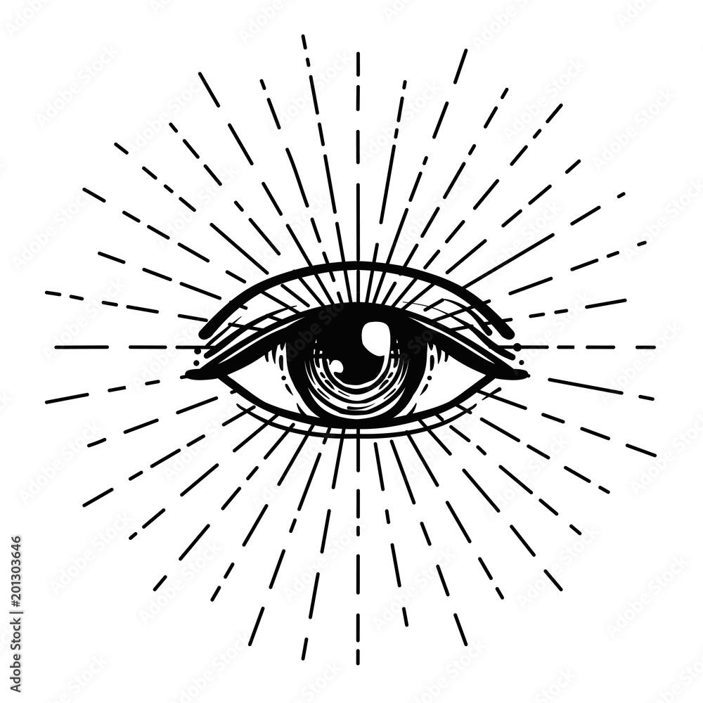 Fototapeta Tattoo flash. Eye of Providence. Masonic symbol. All seeing eye inside triangle pyramid. New World Order. Sacred geometry, religion, spirituality, occultism. Isolated illustration.