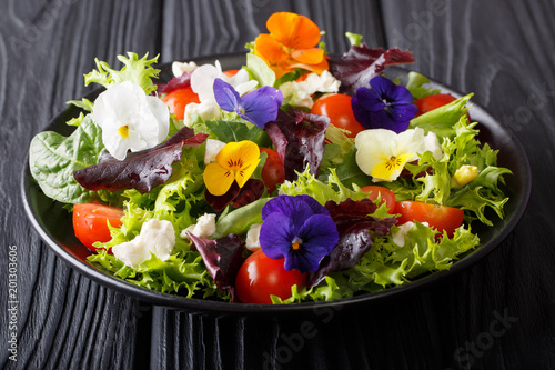 Beautiful healthy salad with edible flowers with fresh lettuce, spinach, tomatoes and cheese close-up. horizontal